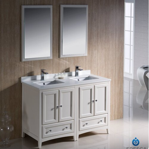 Double Traditional Bathroom Vanity Set with Mirror amp; Reviews  Wayfair