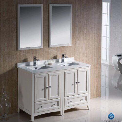 fresca oxford 48 traditional double sink bathroom vanity set