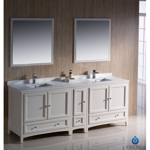 fresca oxford 84 double traditional bathroom vanity set with mirror