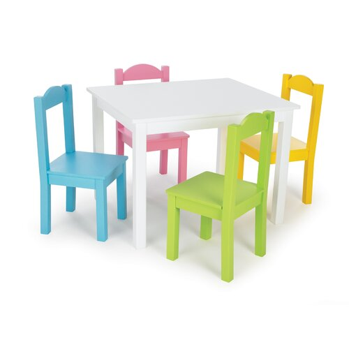Tot Tutors Kids' 5 Piece Table and Chair Set II