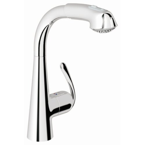 Grohe Ladylux3 Single Handle Single Hole Kitchen Faucet with Dual Spray Pull Out