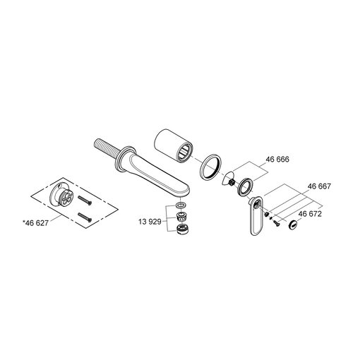 Grohe Veris Wall Mounted Sink Faucet with Single Handle