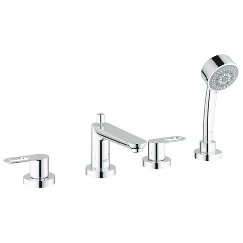 Grohe BauLoop Double Handle Deck Mount Roman Tub Filler Faucet Trim Lever Handle with Shower