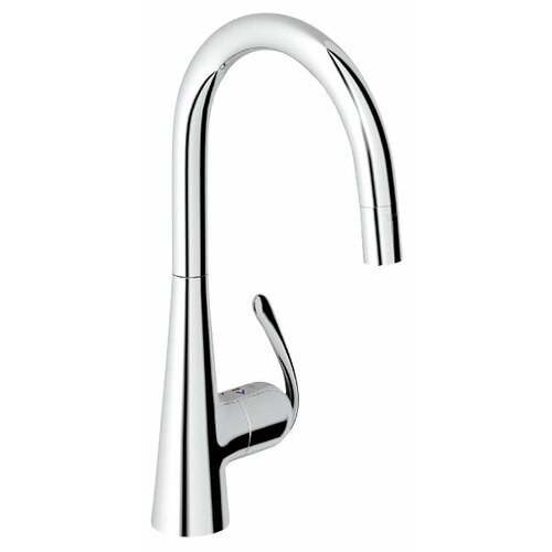 Grohe Ladylux3 One Handle Single Hole Kitchen Sink Faucet with Dual Spray Pull Down and Lever Handle