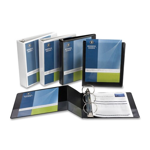 "Business Source Standard View Binder, 1/2""Capacity, White"