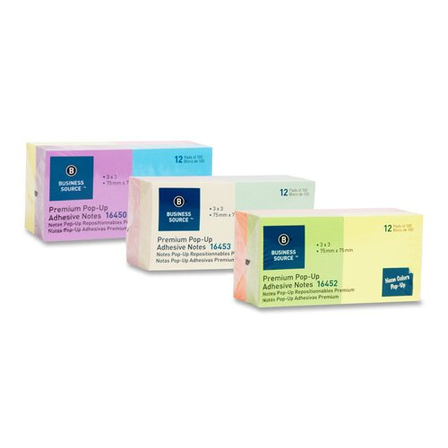 "Business Source Adhesive Note Pads,Pop-up,3""x3"",100 Sh,12 per Pack, Neon Assorted"