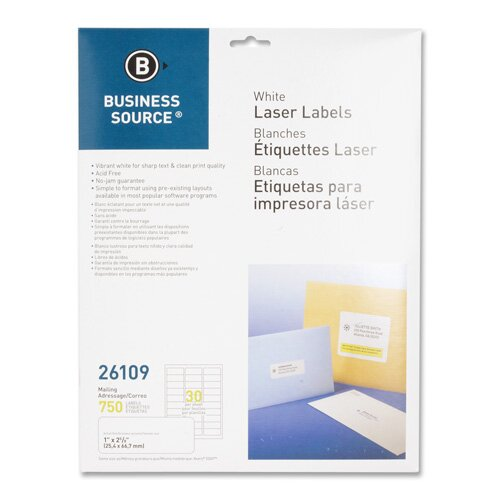 "Business Source Mailing Labels, Laser, 1""x2-5/8"", 750 per Pack, White"