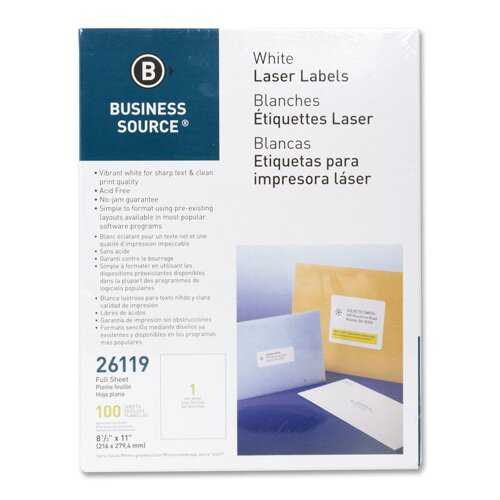 """Business Source Mailing Labels, Full Sheet, Laser 8-1/2""""x11"""", 100 per Pack, White"""