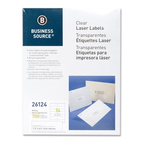 "Business Source Laser Labels, Return Address, 1/2""x1-3/4"", 2000 per Pack, Clear"