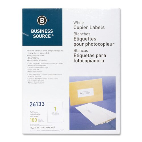 Business Source Full Sheet Labels, 100 per Pack, White