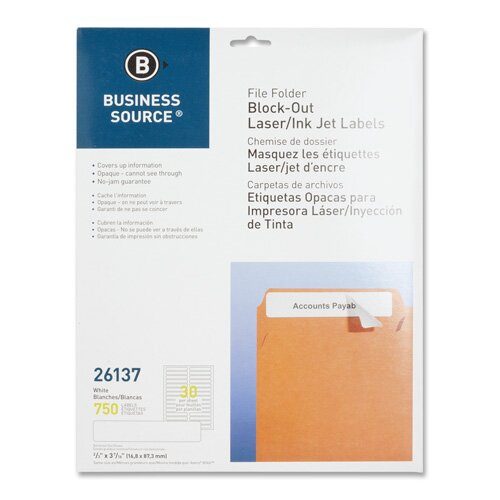 "Business Source Block-Out File Folder Labels, Laser/Inkjet, 750 per Pack, 2/3""x3-7/16, White"