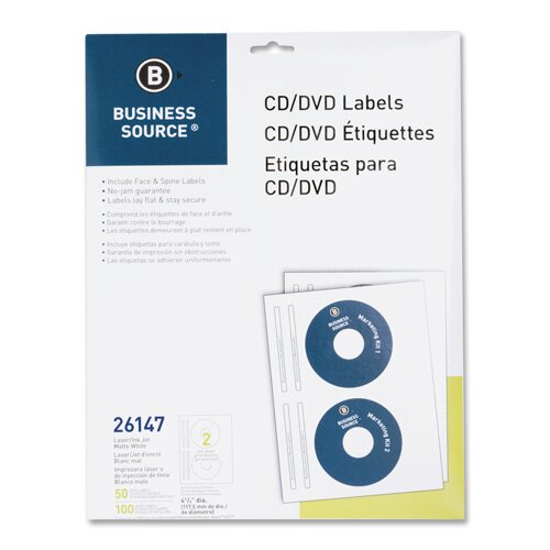 Business Source CD/DVD Labels, Laser/Inkjet, 100 per Pack, White
