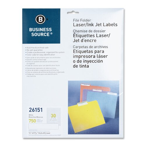 Business Source File Folder Labels, Laser/Inkjet, 750 per Pack, White