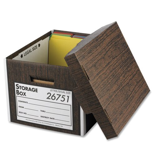 "Business Source Storage Boxes, Lift Off Lid, Ltr/Lgl, 10""x12""x15"", Woodgrain, 12-Pack"