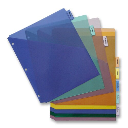 Business Source Poly Index Dividers, w/ Pocket,  5-Tab, Multi
