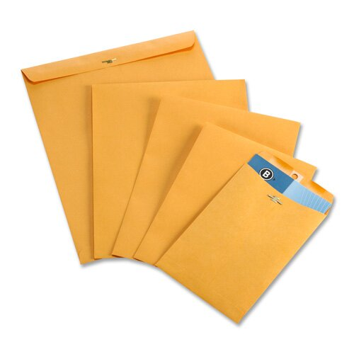 "Business Source Clasp Envelopes,28 lb.,12""x15-1/2"",100 per Box,Brown Kraft"