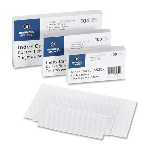 "Business Source Index Cards, Ruled, 90lb., 3""x5"", 100 per Pack, White"
