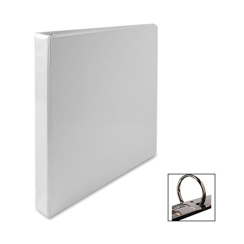 """Business Source Standard View Binder, 1""""Capacity, White"""