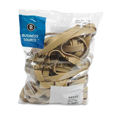 Business Source Rubber Bands, Size 107, 1 lb Bag, Natural Crepe
