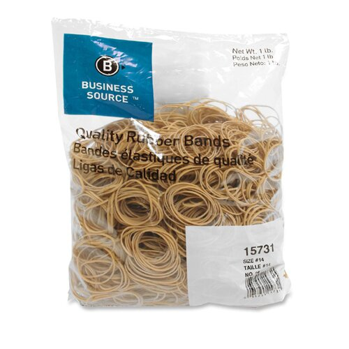 Business Source Rubber Bands, Size 14, 1 lb Bag, Natural Crepe