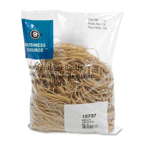 Business Source Rubber Bands, Size 19, 1 lb Bag, Natural Crepe