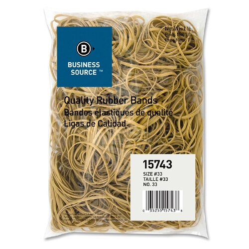 Business Source Rubber Bands, Size 33, 1 lb Bag, Natural Crepe