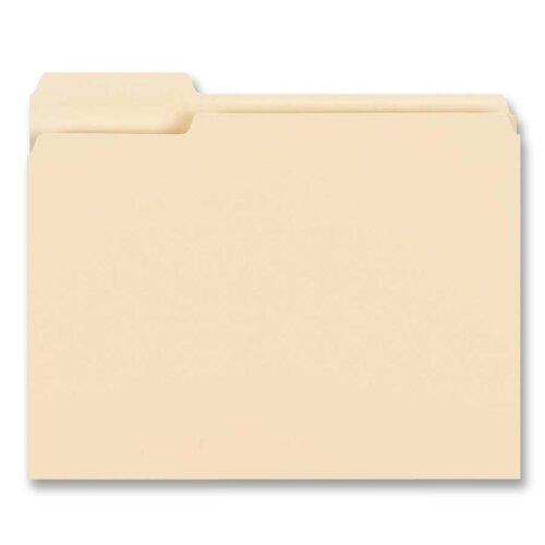 "Business Source File Folder ,1/3"" Left Tab, 1-Ply, 3/4"" Exp.,Letter, 100 per Box, Manila"