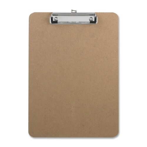 "Business Source ClipboaRed,w/Flat Clip/Rubber Grips,9""x12-1/2"",Brown"