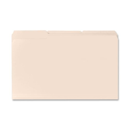 Business Source File Folders, 11 Pt., 1/3 Cut Assorted Tab, Legal, 100 per Box, Manila