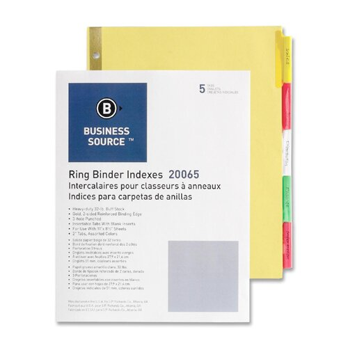 """Business Source Insertable Tab Indexes, 5-2"""" Wide Tab, Letter, Buff/MI"""