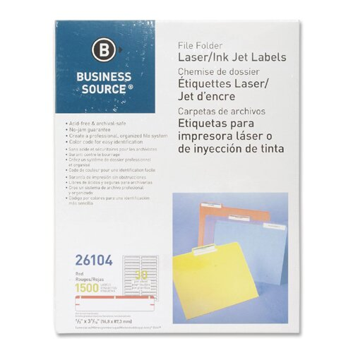 Business Source Label, File Folder, Laser/Inkjet, 1500 per Pack, Red