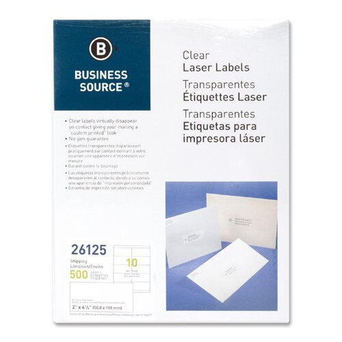 """Business Source Shipping Labels, Laser, Permanent, 2""""x4"""", 500 per Pack, Clear"""
