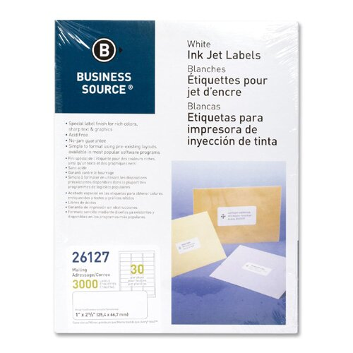 """Business Source Mailing Labels, Inkjet, 1""""x2-5/8"""", 3000 per Pack, White"""