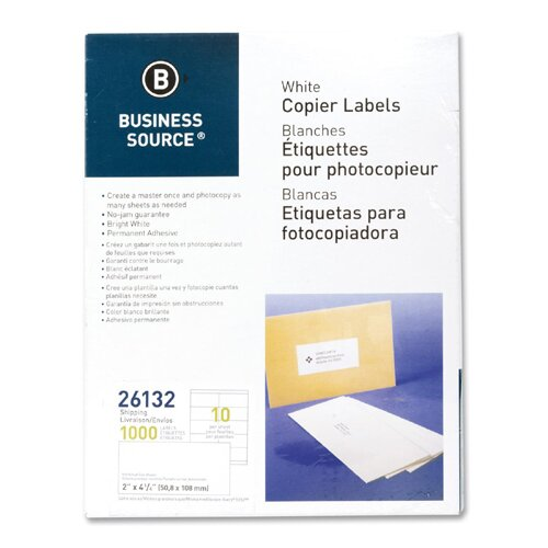 "Business Source Shipping Labels, 2""x4-1/4"", 1000 per Pack, White"