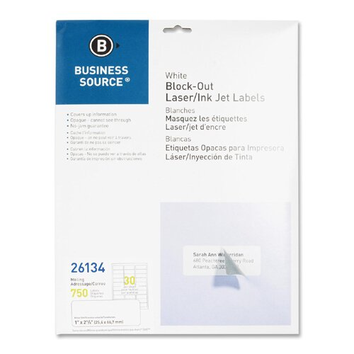"""Business Source Block-Out Labels, Mailing, 1""""x2-5/8"""", 750 per Pack, White"""