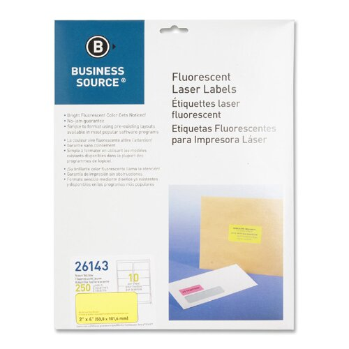 """Business Source Laser Labels, Fluorescent, 2'x4"""", 250 per Pack, Neon Yellow"""