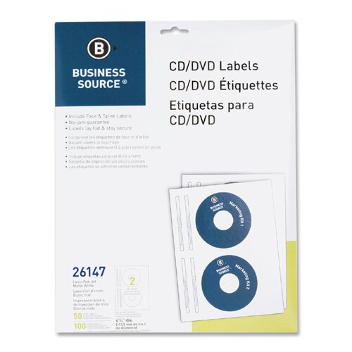 Business Source CD/DVD Labels, Laser/Inkjet, 50 per Pack, White
