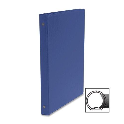 """Business Source Round Ring Binder, w/ Pockets, 1/2"""", Dark Blue"""