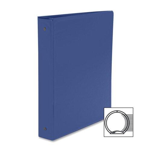 """Business Source Round Ring Binder, w/ Pockets, 1-1/2"""", Dark Blue"""