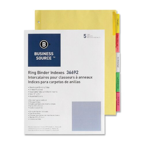 "Business Source Ring Binder Indexes,2"" Tabs,11""x8-1/2"",5-Tabs,50/ST,Ast."