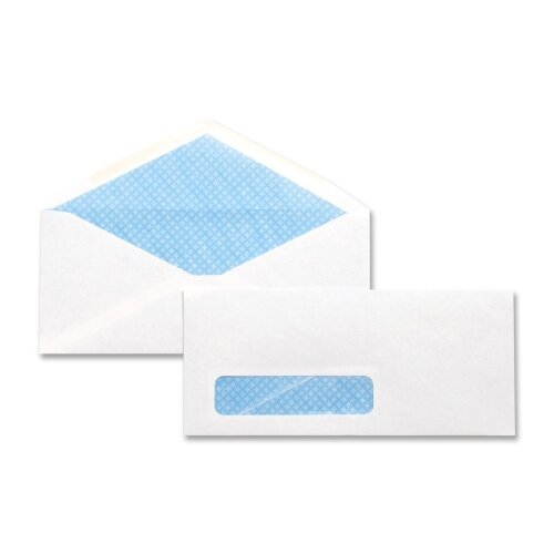 Business Source Security Window Envelope, #10, 24 lbs, Gummed, 500 per Box, White