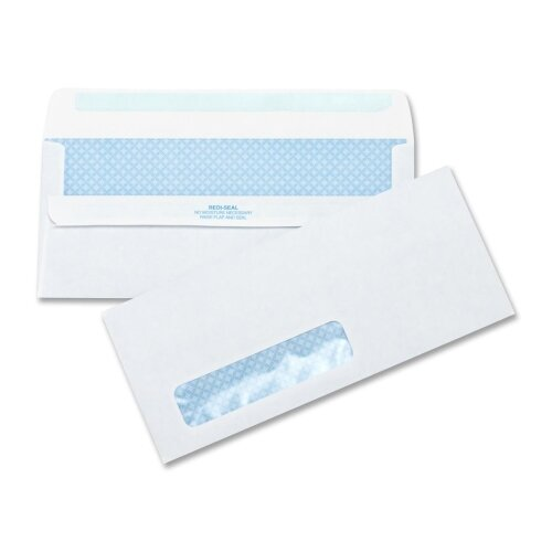 "Business Source Self-Seal Envelopes, Standard Window, No. 10 ,4-1/2""x9-1/2"", 500 per Box, White"
