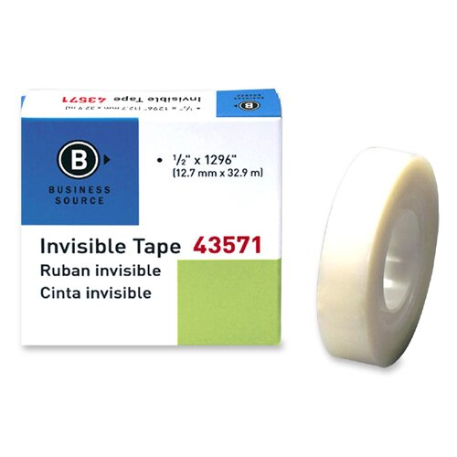 "Business Source Transparent Tape, Refill, 1"" Core, 1/2""x1296"", Clear"