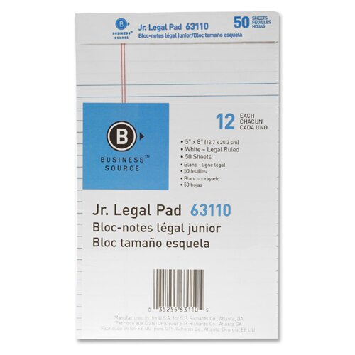 "Business Source Micro-Perforated Pad, Jr. Legal Ruled, 50 Sheets, 5""x8"", White, 12-Pack"