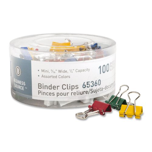 "Business Source Binder Clips, Mini, 9/16""W, 1/4"" Capacity, 100 per Pack, Assorted"