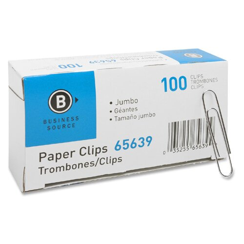 Business Source Gem Clip, Jumbo, .041 Wire Gauge, 10 BX per Pack, Silver