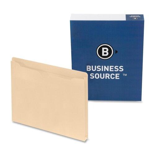 "Business Source File Pocket,Straight Cut Tab,1"" Exp., Letter, 50 per Box, Manila"
