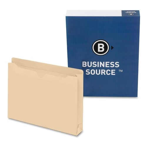 """Business Source Filing Jacket, Letter, 2"""" Expansion, Two-Ply, 50 per Box, Manila"""