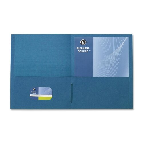 "Business Source 2-Pocket Folders, 125 Sh. Cap., 11""x8-1/2"", 25 per Box, Dark Blue"