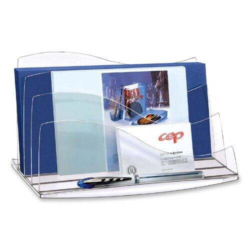 Cep Desk Accessories, Letter Sorter, Crystal/Ice Black